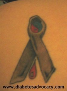 grey ribbon tattoo