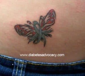diabetes ribbon butterfly tattoo