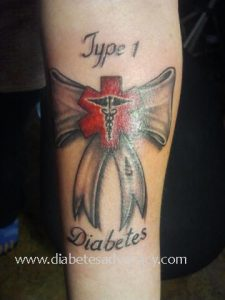 diabetes ribbon medical tattoo