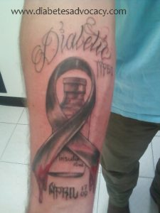 diabetes tattoo with ribbon and insulin Diabetes Advocacy