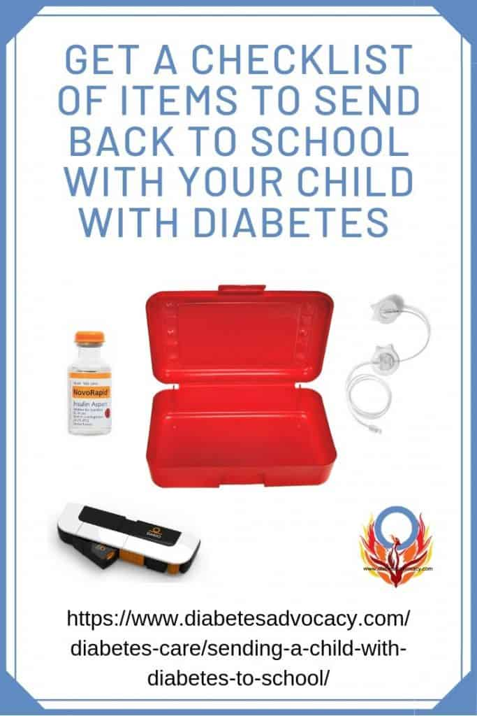 what to send to school with a child with diabetes